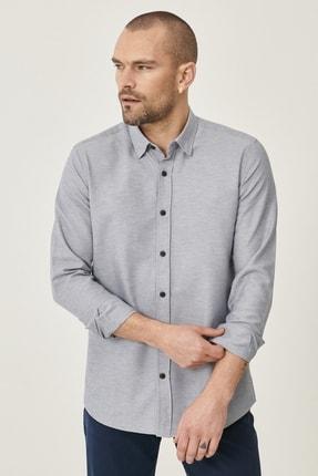 Altınyıldız Classics Erkek Gri Tailored Slim Fit Dar Kesim Düğmeli Yaka Oxford Gömlek 2