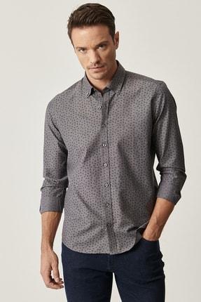 Altınyıldız Classics Erkek Antrasit Tailored Slim Fit Düğmeli Yaka Baskılı Gömlek 1