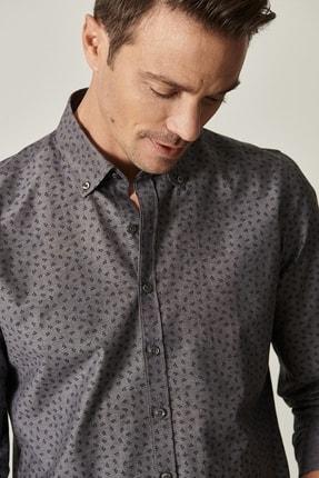 Altınyıldız Classics Erkek Antrasit Tailored Slim Fit Düğmeli Yaka Baskılı Gömlek 3