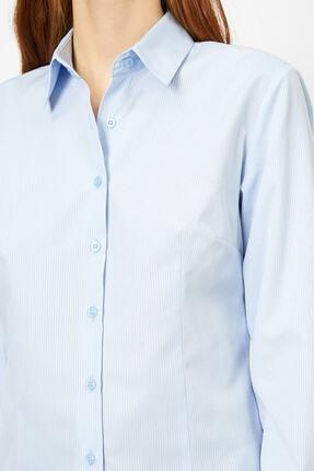 Koton Kadın Mavi Klasik Yaka Gömlek 4