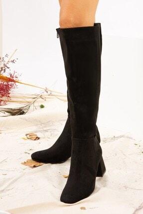 Fox Shoes Siyah Süet Kadın Çizme J518023002 2