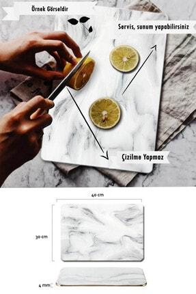 Went 3 Yaprak Desenli Cam Servis Sunum - Kesme Tahtası 30x40 cm 3