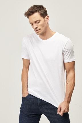Altınyıldız Classics Erkek Beyaz Slim Fit Dar Kesim V Yaka 2'li Tişört Paketi 1