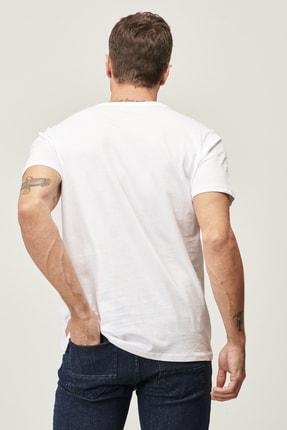 Altınyıldız Classics Erkek Beyaz Slim Fit Dar Kesim V Yaka 2'li Tişört Paketi 4
