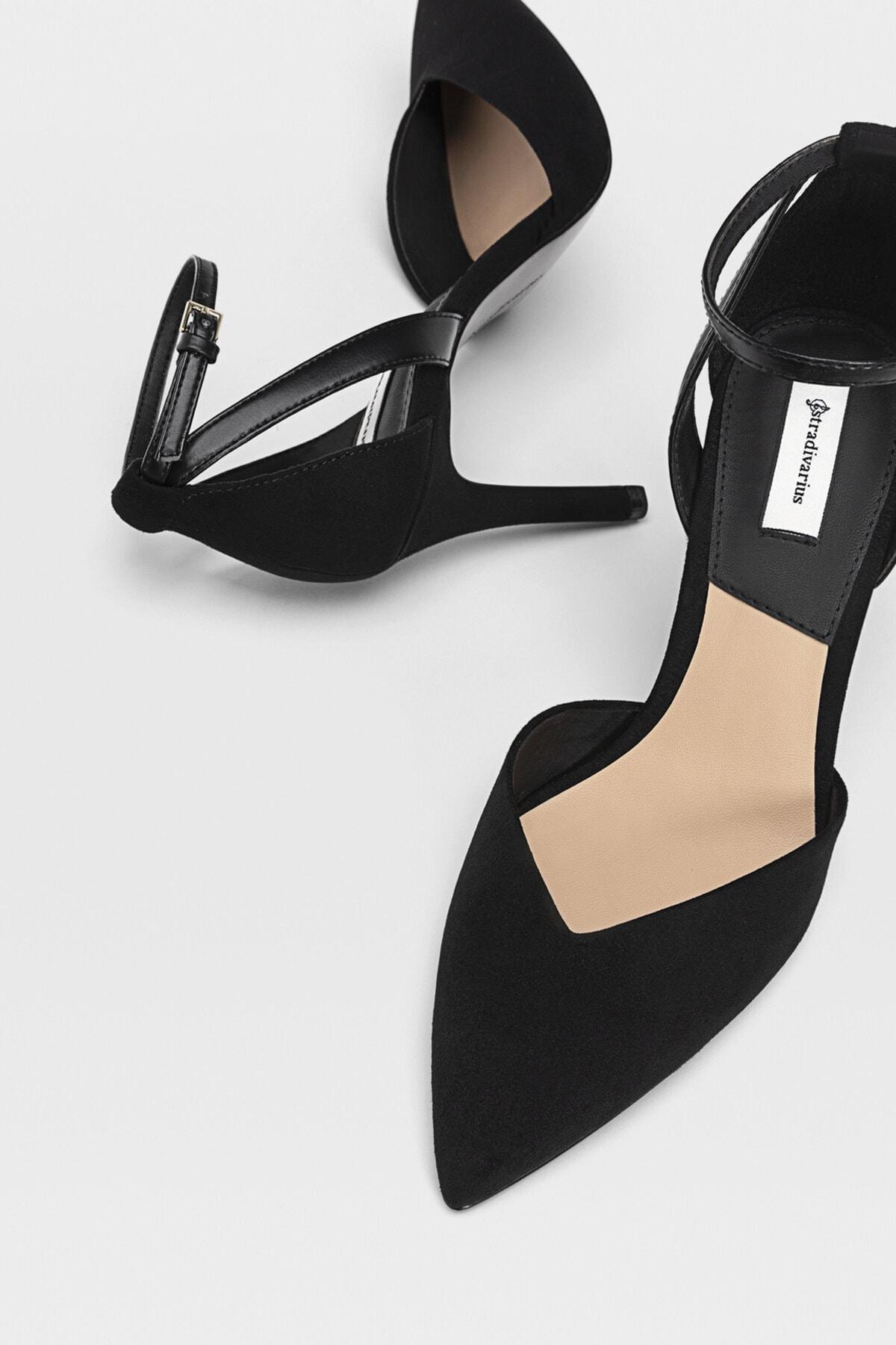 Stradivarius Kadın Siyah Bilekten Bantlı Yüksek Topuklu Ayakkabı 19153770 2