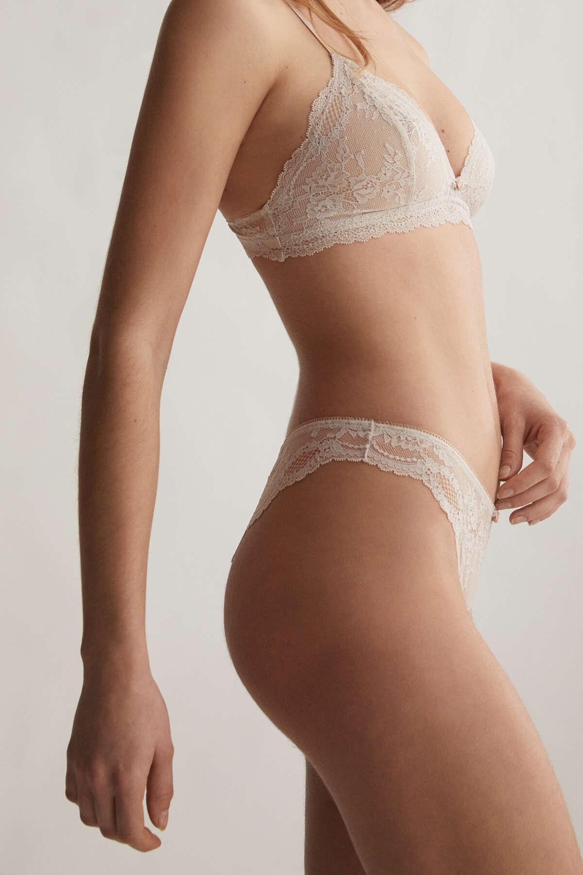 Oysho Kadın Gül Detaylı Dantelli Brezilya Modeli Külot Taş Grisi 30073086 2