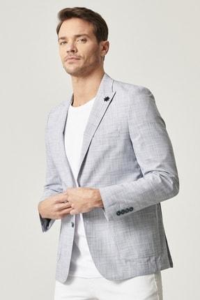Altınyıldız Classics Erkek Lacivert Slim Fit Desenli Ceket 2