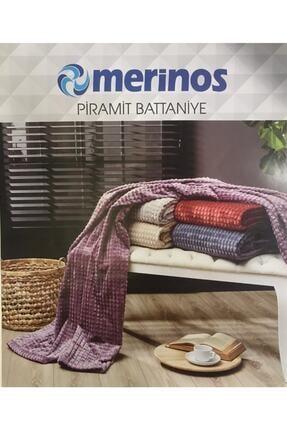 Merinos Yeni Ürün Piramit Tek Kişilik Battaniye Gül Kurusu 1
