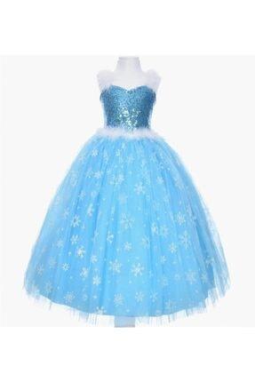 SÜSLÜ KİDS Kız Çocuk Mavi Frozen Elsa Elbise 0