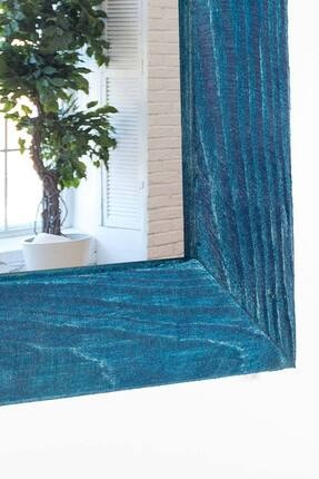 bluecape Doğal Ağaç Paris Boy Konsol Ayna Ve Mavi Kalorifer Petek Üstü Koridor Demir Ayak Dresuar Takımı 3