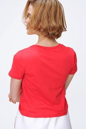 Trend Alaçatı Stili Kadın Kırmızı V Yaka Önü Büzgülü Crop T-Shirt ALC-X5785 3