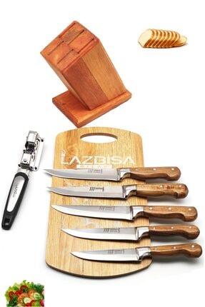 LAZBİSA Lazoğlu Sürmene 8'li Mutfak Bıçak Seti Bileyici Kesme tahtası Kütük Et Ekmek Sebze Meyve Bıçağı 1