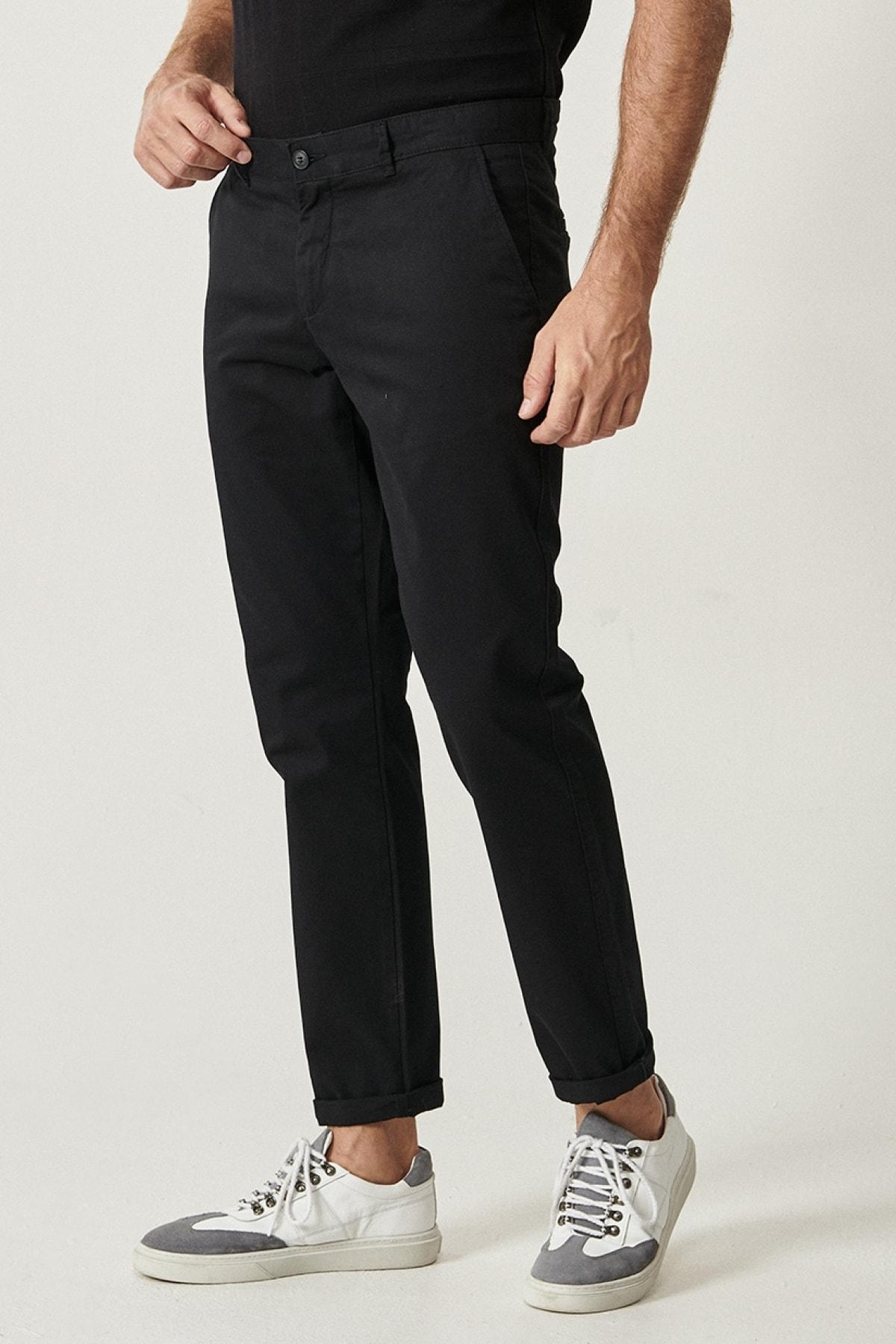 Erkek Siyah Kanvas Slim Fit Chino Pantolon