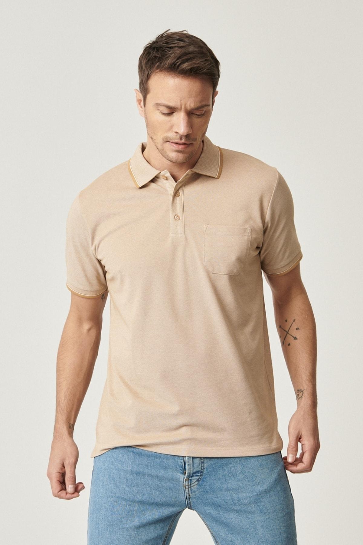 Erkek Vizon Polo Yaka Cepli Regular Fit Bol Kesim Düz Tişört