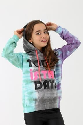 Enisena Kız Çocuk Mint Batik Yıkamalı Kapüşonlu Sweatshirt 9-14 Yaş 2