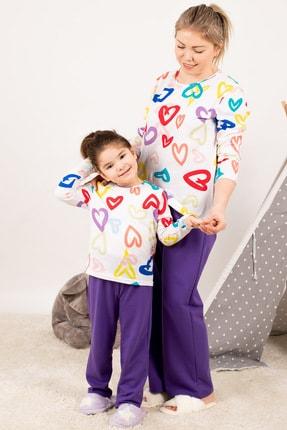 armonika Kadın Mor Anne Kız Model Kalp Desenli Pijama Takımı ARM-21K001114 1