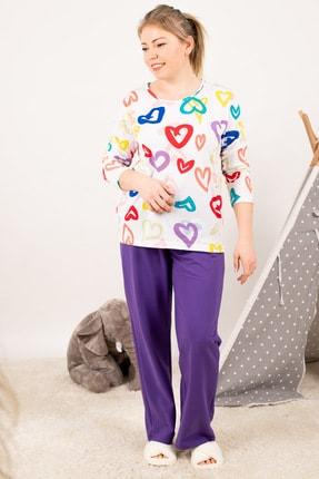 armonika Kadın Mor Anne Kız Model Kalp Desenli Pijama Takımı ARM-21K001114 4