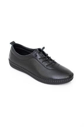 MelikaWalker Full Comfort Ve Ortopedik Bayan Siyah Günlük Rahat Lastik Bağcıklı Hava Alabilen Bayan Ayakkabı 3