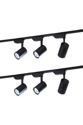 Led Pasajı Siyah Kasa Ve Günışığı 6 Adet 360 Derece Dönen Led Ray Spot Lamba 2 Adet 1 Metre Raylı Armatür 2