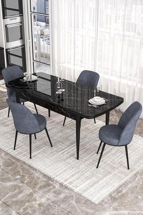 Canisa Concept Via Serisi Açılabilir Mutfak Masası Takımı-yemek Masası Takımı-siyah Masa+4 Adet Füme Sandalye 1