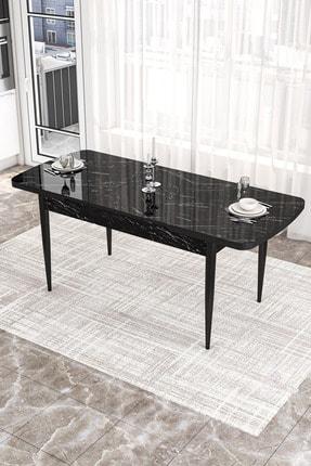 Canisa Concept Via Serisi Açılabilir Mutfak Masası Takımı-yemek Masası Takımı-siyah Masa+4 Adet Füme Sandalye 4