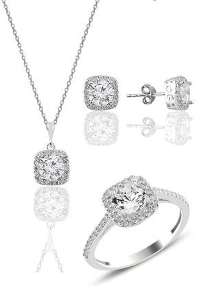 Söğütlü Silver Gümüş Rodyumlu Zirkon Taşlı Kare Üçlü Set 0