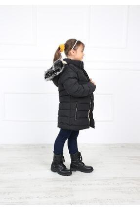 B&T Kız Çocuk Siyah Peluşlu  Kaban Mont 4