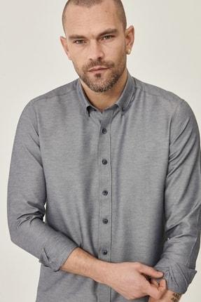 Altınyıldız Classics Erkek Koyu Lacivert Tailored Slim Fit Dar Kesim Düğmeli Yaka Gabardin Gömlek 3