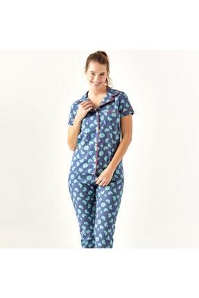 Bella Maison %100 Pamuk Palma Mavi Pijama Üstü 0