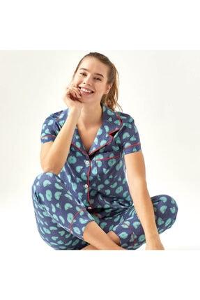 Bella Maison %100 Pamuk Palma Mavi Pijama Üstü 2