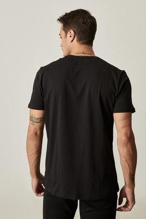 Altınyıldız Classics Erkek Siyah Slim Fit Dar Kesim Bisiklet Yaka Baskılı Tişört 3