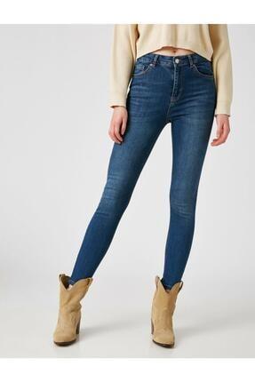 Koton Kadın Mavi Pamuklu Skinny Yüksek Bel Jeans 2