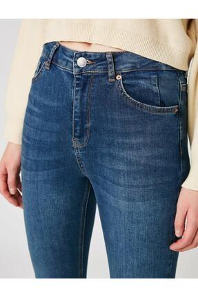 Koton Kadın Mavi Pamuklu Skinny Yüksek Bel Jeans 4