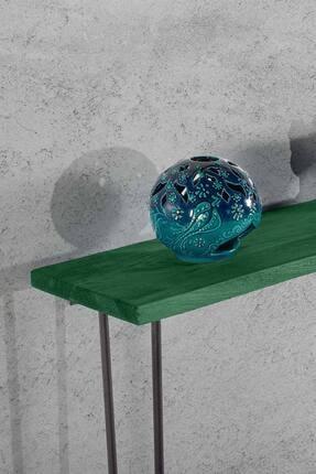 bluecape Doğal Ağaç Paris Boy Konsol Ayna Ve Yeşil Kalorifer Petek Üstü Koridor Demir Ayak Dresuar Takımı 3