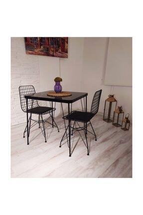 Avvio Defne 2 Kişilik Yemek Masası Takımı-mutfak Masası Takımı-siyah Mermer Desenli 3