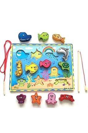 Fisher Kids Ahşap Mıknatıslı Balık Tutma Ve Ipe Dizme Oyunu 2