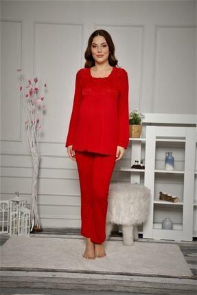 ALİMER Kadın Kırmızı Düğmeli Ve Bel Ayarlı Hamile Pijama Takımı 2487 4