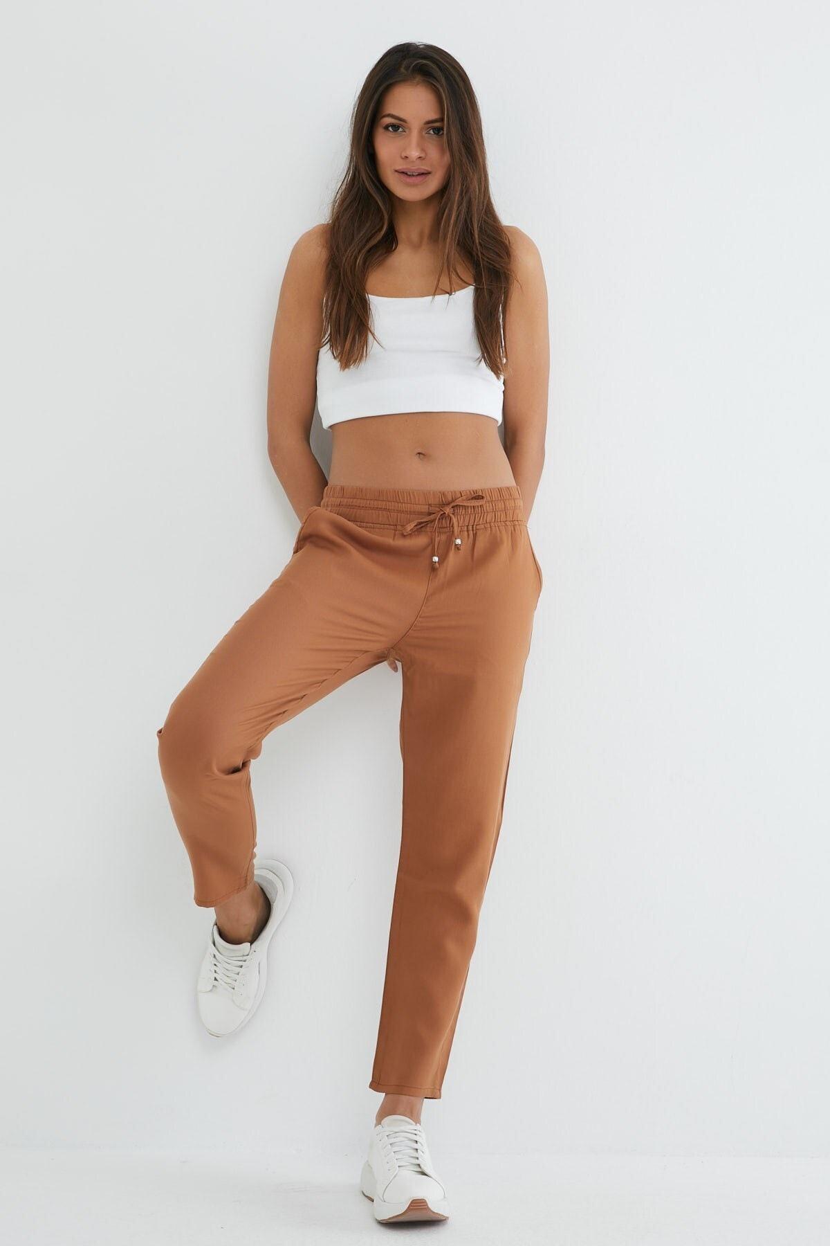 Kadın Kahverengi  Alıan Lyocell Beach Pantolon