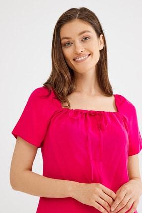 Love My Body Kadın Fusya Kare Yaka Bağcıklı Elbise 1