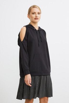 Love My Body Kadın Siyah Omuzları Yırtmaçlı Sweat Elbise 0