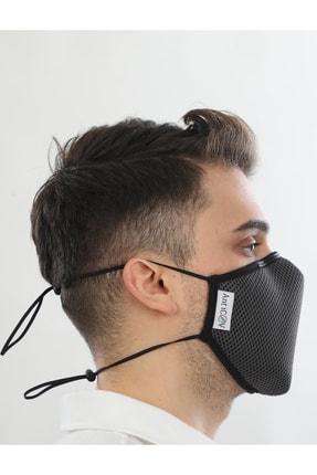 AntiCoV Prestige Boyun Lastikli GRİ AntiViral Kumaştan Üretilmiş Yıkanabilir Maske 2