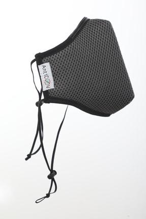 AntiCoV Prestige Boyun Lastikli GRİ AntiViral Kumaştan Üretilmiş Yıkanabilir Maske 3