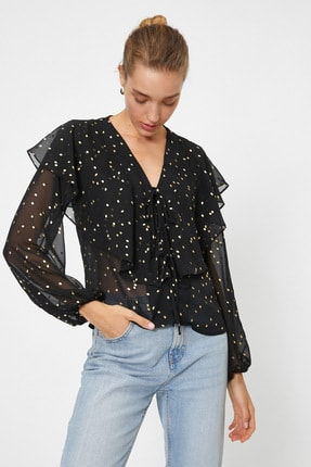 Koton Kadın Siyah Renkli  Puantiyeli Bluz 0YAK68964PW 1