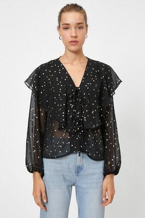 Koton Kadın Siyah Renkli  Puantiyeli Bluz 0YAK68964PW 2