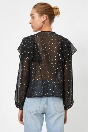 Koton Kadın Siyah Renkli  Puantiyeli Bluz 0YAK68964PW 3