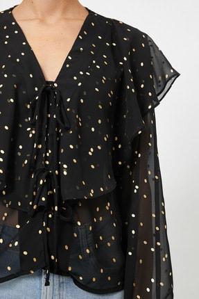 Koton Kadın Siyah Renkli  Puantiyeli Bluz 0YAK68964PW 4