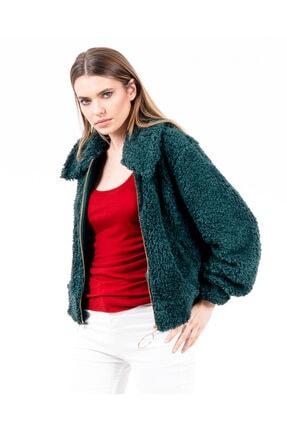 JAHR MARC Fermuarlı Yeşil Peluş Kadın Ceket 2