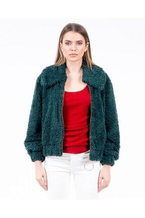 JAHR MARC Fermuarlı Yeşil Peluş Kadın Ceket 3