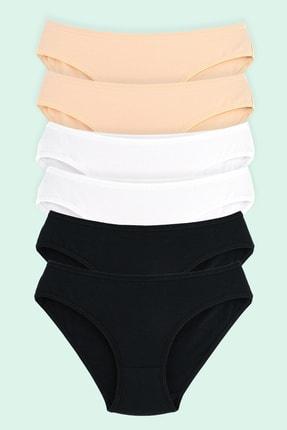 Moodligo Fine Cotton Kadın Basic Slip Külot 6'lı Kutu-2 Siyah 2 Ten 2 Beyaz 3