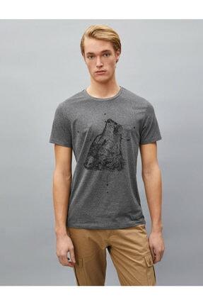 Koton Erkek T-shirt Antrasit 1yam11781dk 2